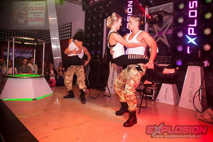 Erotic dance group shaking